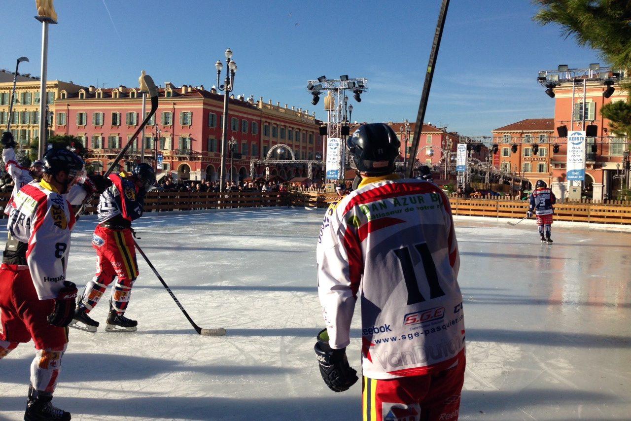 animation match de hockey en extérieur